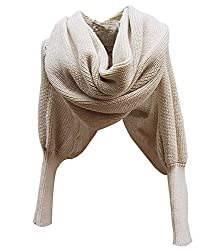 Leegoal Women Solid Scarf with Sleeves Crochet Knit Long Soft Wrap Shawl Scarves