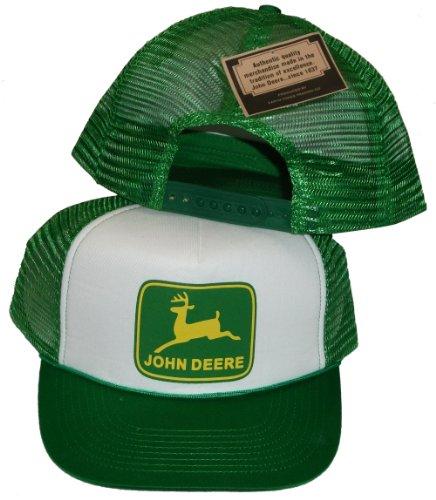 John Deere Adjustable Green and White Plastic Snapback Trucker Hat ...