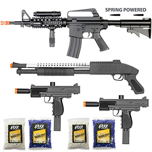 BBTac Airsoft Gun Package - The Operator - Collection of 4 Airsoft Guns - Powerful Spring Rifle, Shotgun, Two SMG, 4000 BB Pellets, Great for Starter Pack Game Play (10 Dollar Airsoft Guns compare prices)