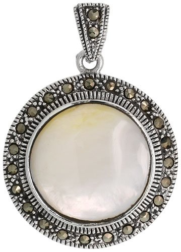Sterling Silver Marcasite Round Pendant, w/ Cabochon Cut 21 mm Mother of Pearl, 1 3/8