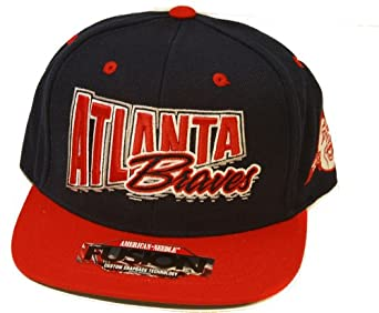 American Needle Fusion MLB Atlanta Braves Snapback Hat, Navy Red + GT Wristband by ANeedle
