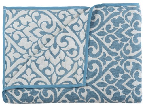 New Stylemaster Home Products Twill and Birch Bryce Reversible Chenille Bedspread, King, Sea Breeze