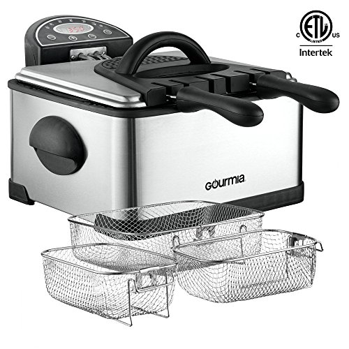 Great Features Of Gourmia GDF500 Compact Electric Deep Fryer, 3 Baskets, With Digital Timer & Thermostat – Stainless Steel – 4.2 Quart/18 Cups of Oil/ 4 lbs of Food – 1700 Watt