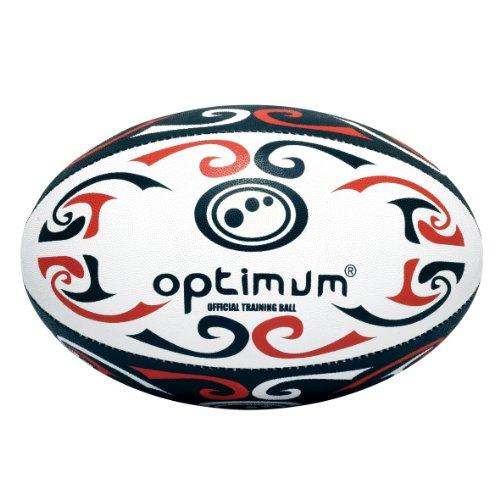 Optimum Palla da Rugby da allenamento Tribal, Rosso (Red/White/Black), Taglia 5