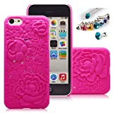 Cocoz® Iphone 5c Rose Red Peony Flower Palace Carving Patterns Fashion Design Pc - H004 by CocoZ