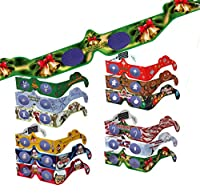 20 Pairs 3D Christmas Glasses - 12 Different Styles - SHIPS FLAT 3Dstereo Holiday Eyes - Mrs. CLAUS & JINGLE BELLS - Transform Christmas Lights Into Magical Images - SHIPS FLAT -Holiday Specs from View-Master
