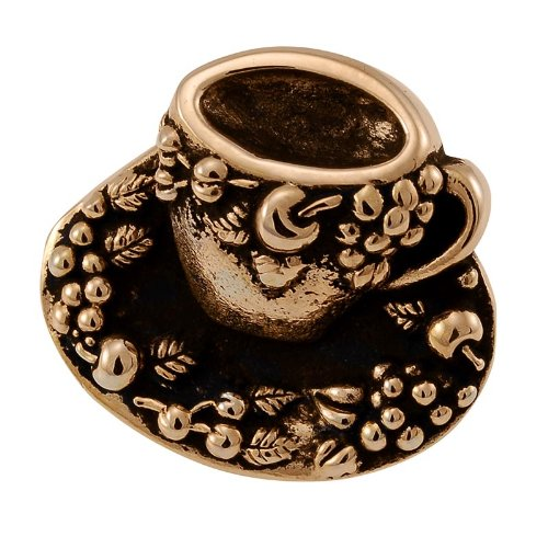 Vicenza Designs K1062  Cappuccino Cup Knob, Large, Antique Gold