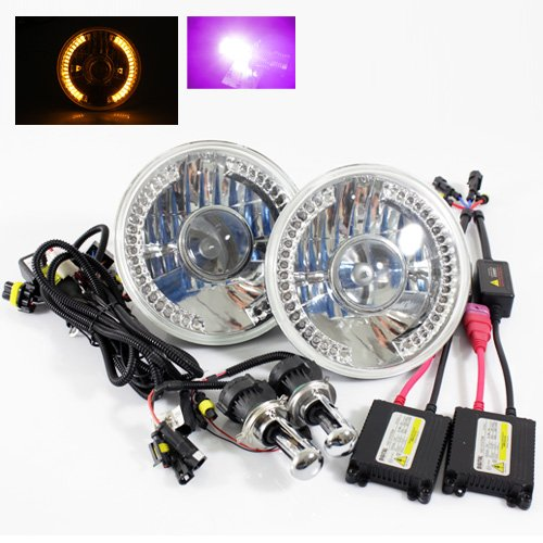 """12000K Purple Bi-Xenon Slim Hid/7"""" Round 6014/6015/6024 Chrome Projector Headlights With Amber Led Ring"""
