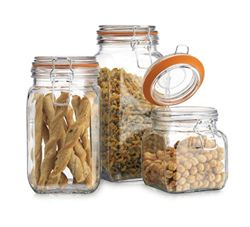 High Quality Airtight Glass Canister Hermetic Seal Bail & Trigger /Jar with Lid • Use As Tea - Coffee - Sugar Canister • Wide Mouth / Square Shape / Set of 3 (Airtight Glass Storage Containers compare prices)
