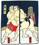 日本和風インテリア レイアウト 海外向けおみやげ 浮世絵 風俗画 暖簾 紺色 相撲暖簾