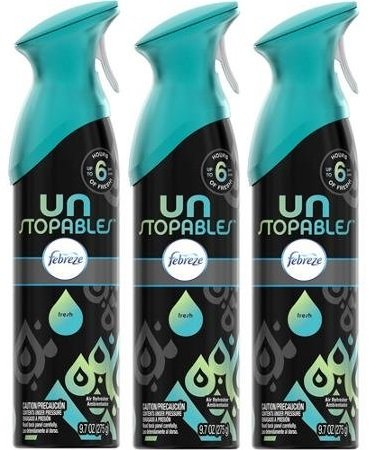 Febreze Unstopables Premium Air Refresher - Fresh Scent - Up To 6 Hours Of Fresh - Net Wt. 9.7 OZ (275 g) Each - Pack of 3