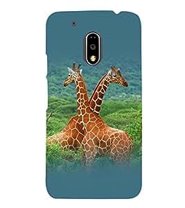 printtech Nature Animal Jungle Giraffe Back Case Cover for Motorola Moto G4 Plus / Motorola Moto G4