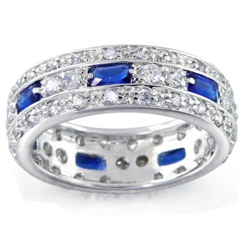 Bling Jewelry Sterling Silver Blue Sapphire Color CZ Pave Eternity Band Ring MORE SIZES - Size 6