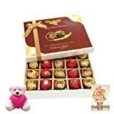 20pc Classic Wrapped Chocolate Box With Birthday Card And Teddy - Chocholik Luxury Chocolates