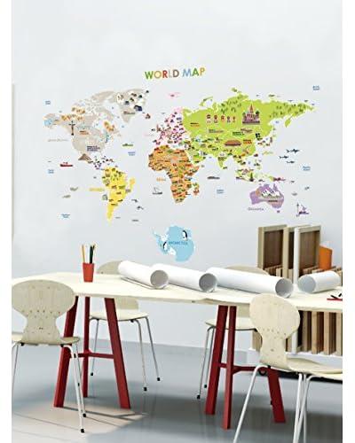 Ambiance Live Vinilo Decorativo Giant World Map for children Multicolor