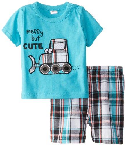 Cutie Pie Baby Boys Infant Plaid Shorts Set Messy But Cute, Blue, 12 Months