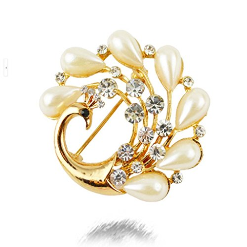 DDU(TM) 1Pc Pearls Diamond Chic Peacock Corsage Collar Brooch Scarf Buckle Cloth Pin Decoration Gift