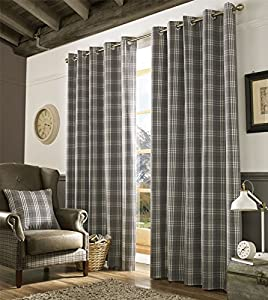 """Tartan Check Grey White Woven Lined 46"""" X 90"""" - 117cm X 229cm Ring Top Curtains by Curtains"""