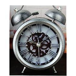 Rola 5'' Two Bells Silent Quartz Analog Alarm Clocks Desktop Clock retro style 3D stereo Table Clocks Retro Vintage Home Decoration Desk Clock with Nightlight and Loud Alarm