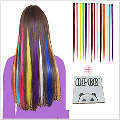 OPCC Bundle 12 Pieces of 22 Inches Multi-Colors Party Highlights Colorful Clip In Synthetic Hair Extensions Hairpieces,1PCS Opcc Sticky Notes included