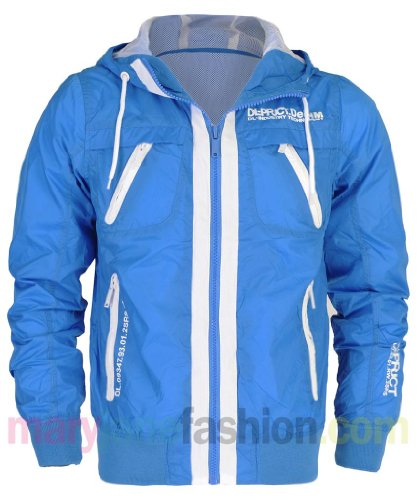 Mens Hooded White Trim Piped Windbreaker Mesh Lined Jacket Coat S GT Blue