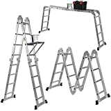 VonHaus 14-in-1 15.1ft Multi Purpose Folding Ladder with 2 Scaffold Working Plates and Tool Tray EN131