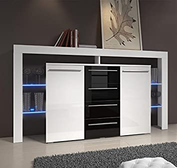 Muebles Bonitos - Aparador Isabela 2 en color blanco y negro con LED