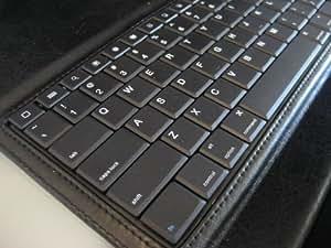 D-Lux Black Leather IPad Folio Case With Wireless Bluetooth Keyboard (Laptop Style Keys)