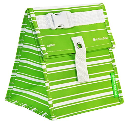 Lunchskins Reusable Lunch Tote, Green Stripe