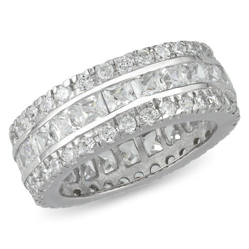 Sterling Silver Square and Round Cubic Zirconia Eternity Band, 8mm wide