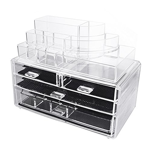 MelodySusie® Large Acrylic Makeup Organizer - A Set of 3 Pieces Transparent Mordern Jewelry and Cosmetic Storage / The Best Makeup Holder for All of Your Cosmetics, Jewelries, Nail Polishes etc.