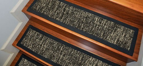"""Carpet Stair Treads and Rugs 9"""" x 29"""" - Manhattan Wool Sisal Natural Fiber, Black Cotton Binding (Custom Size and Color Available / Set of 4)"""