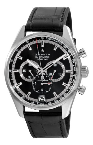 Zenith Men's 03.2040.400/21.c496 El Primero 36'000 VPH Black Sunray Patterned Chronograph Dial Watch