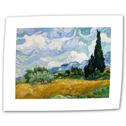 Art Wall Wheatfield with Cypresses by Vincent van Gogh Rolled Canvas Art, 18 by 24-Inch