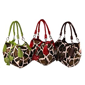 MALI - Giraffe Print Hobo Handbag - with CHARMS by Eliebags