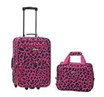 Rockland 2 Piece Luggage Set, Magenta Leopard, One Size