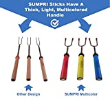 SUMPRI Marshmallow Roasting Sticks -SET OF 6 Smores Skewers Fire Pit Accessories- The ONLY Set With 6 Multicolored Forks-Extra Long 34 Inch Hot Dog & Camping Telescoping Patio & Kids Campfire Cookware