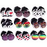 18 Pieces Lot Fake Plugs Logo Fake Gauges, 16 Gauge 00G Gauges Look Assorted No Duplicate (9 Pairs)