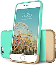 iPhone 6 Case, Flexion™ [Euphoria Series] Ultimate Protection Scratch Proof Soft Interior Vibrant Hard Case for iPhone 6 (4.7) **Lifetime Warranty** (Aqua Blue/Gold)