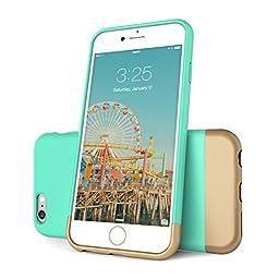 iPhone 6 Case, Flexion [Euphoria Series] Ultimate Protection Scratch Proof Soft Interior Vibrant Hard iPhone 6 Case / iPhone 6S Case (4.7) (Aqua Blue/Gold)
