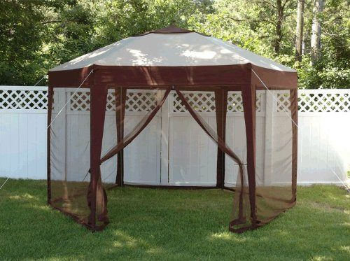 Bliss Stow EZ Hexagon Pop-Up Gazebo with Mosquito Net