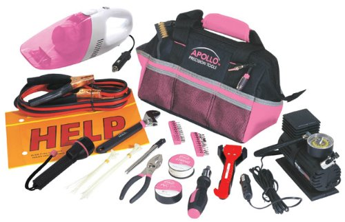 Apollo Precision Tools DT0515P 54-Piece Roadside Tool Set, Pink