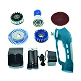 gbgs power scrubber with 2 rechargeable batteries 4 brushes 1 scouring pad ideal bathroom power scrubber
