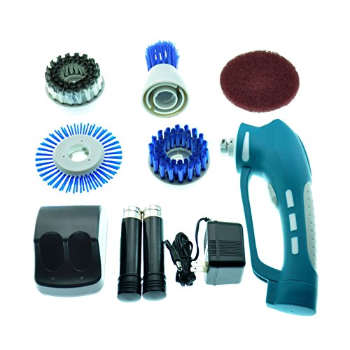 Power Scrubber with 2 Rechargeable Batteries 4 Brushes 1 Scouring Pad Ideal Bathroom Power Scrubber