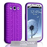 Samsung Galaxy S3 Silicone Gel Tyre Tread Case - Purpleby Yousave Accessories