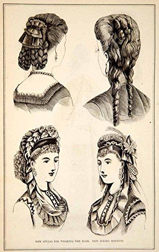 1870 Wood Engraving Victorian Lady Hairstyles Updos Spring Bonnet Fashion Ypm3 - Original Wood Engraving