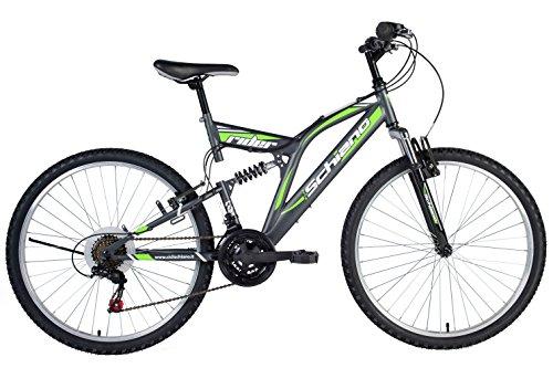 """F.lli Schiano Rider Shimano Bici Biammortizzata 18 Velocità, Antracite/Verde, 26"""""""