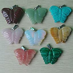 Fashion Carving Mixed Natural Stone Pendulum Butterfly Pendants 8Pcs