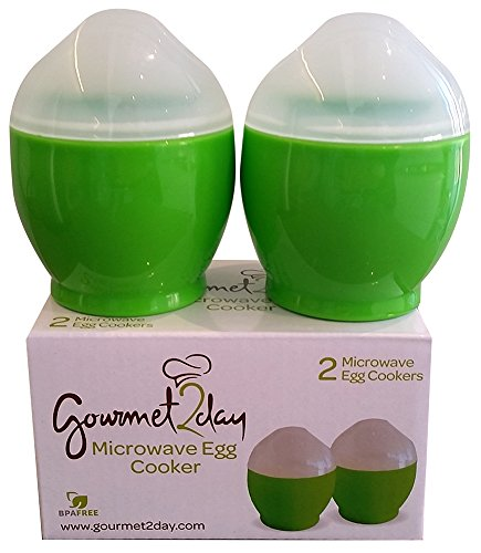 Microwave Egg Cooker for scrambled and poached eggs in seconds  FREE Egg Recipe eBook - Includes 2 microwavable egg cups  Perfect size for a quick snack / meal on the go or at the office