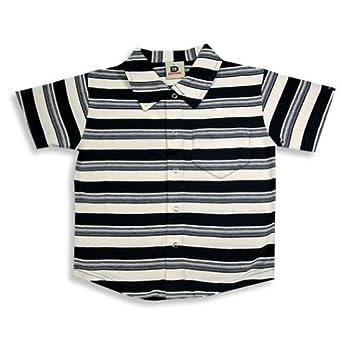 Dogwood Clothing - Little Boys Striped Short Sleeve Shirt With Collar, Navy, Cream 11591-2T